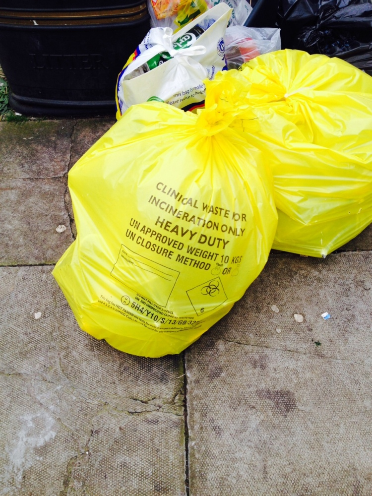 Clinical waste sack, north London